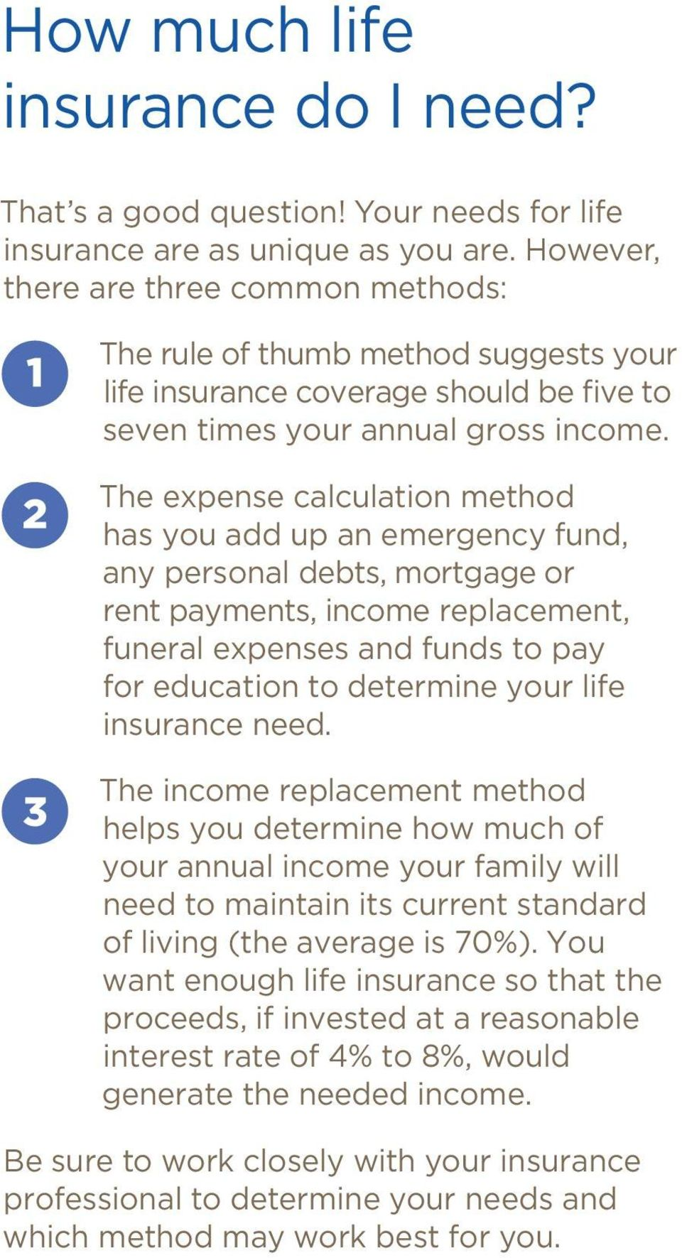 The expense calculation method has you add up an emergency fund, any personal debts, mortgage or rent payments, income replacement, funeral expenses and funds to pay for education to determine your