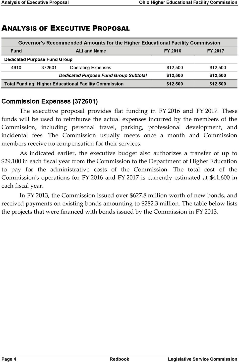 Commission $12,500 $12,500 Commission Expenses (372601) The executive proposal provides flat funding in FY 2016 and FY 2017.