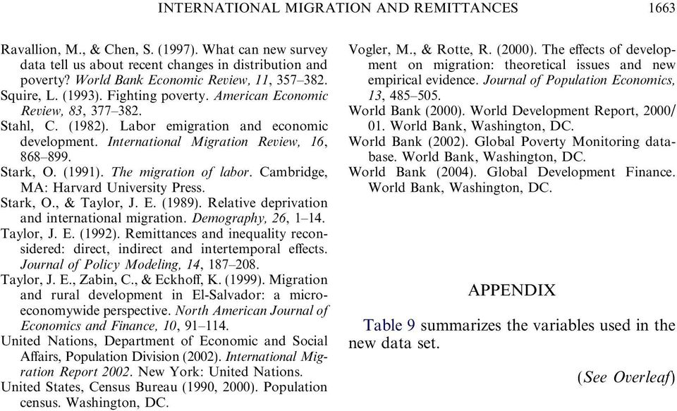 International Migration Review, 16, 868 899. Stark, O. (1991). The migration of labor. Cambridge, MA: Harvard University Press. Stark, O., & Taylor, J. E. (1989).