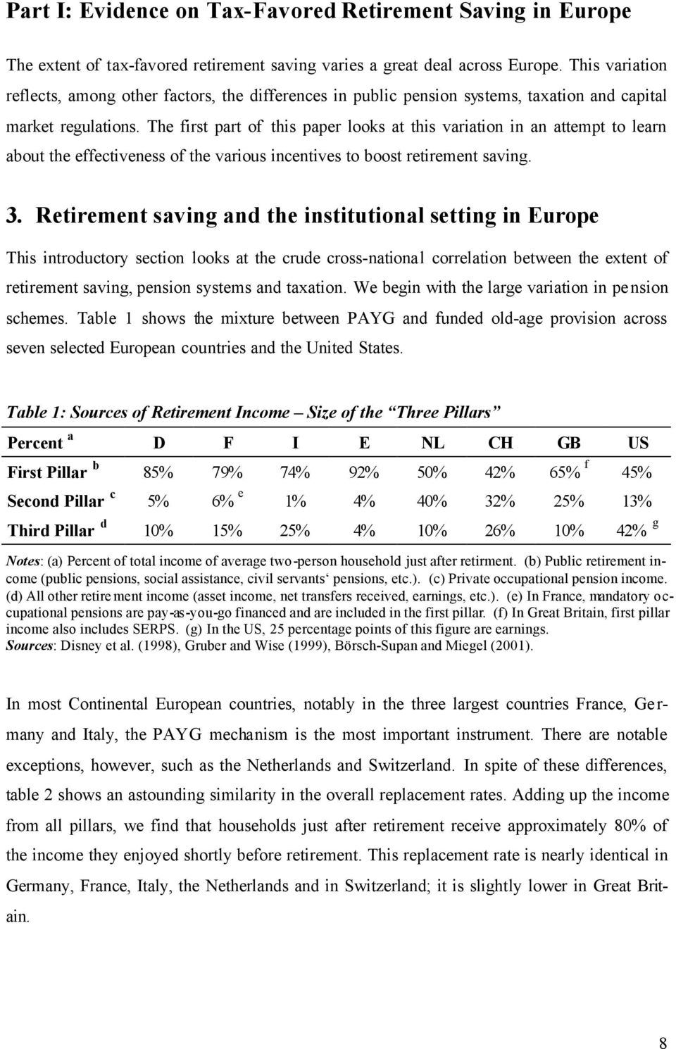 The first part of this paper looks at this variation in an attempt to learn about the effectiveness of the various incentives to boost retirement saving. 3.