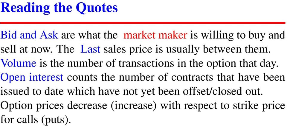 Volume is the number of transactions in the option that day.