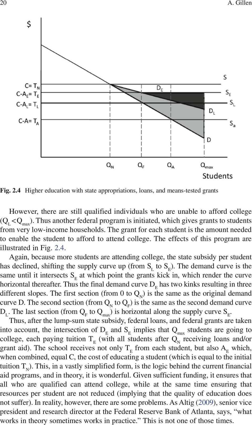The grant for each student is the amount needed to enable the student to afford to attend college. The effects of this program are illustrated in Fig. 2.4.