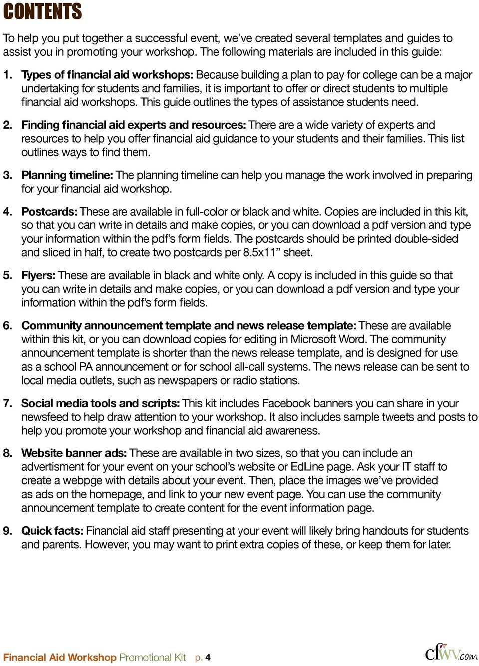 workshops. This guide outlines the types of assistance students need. 2.
