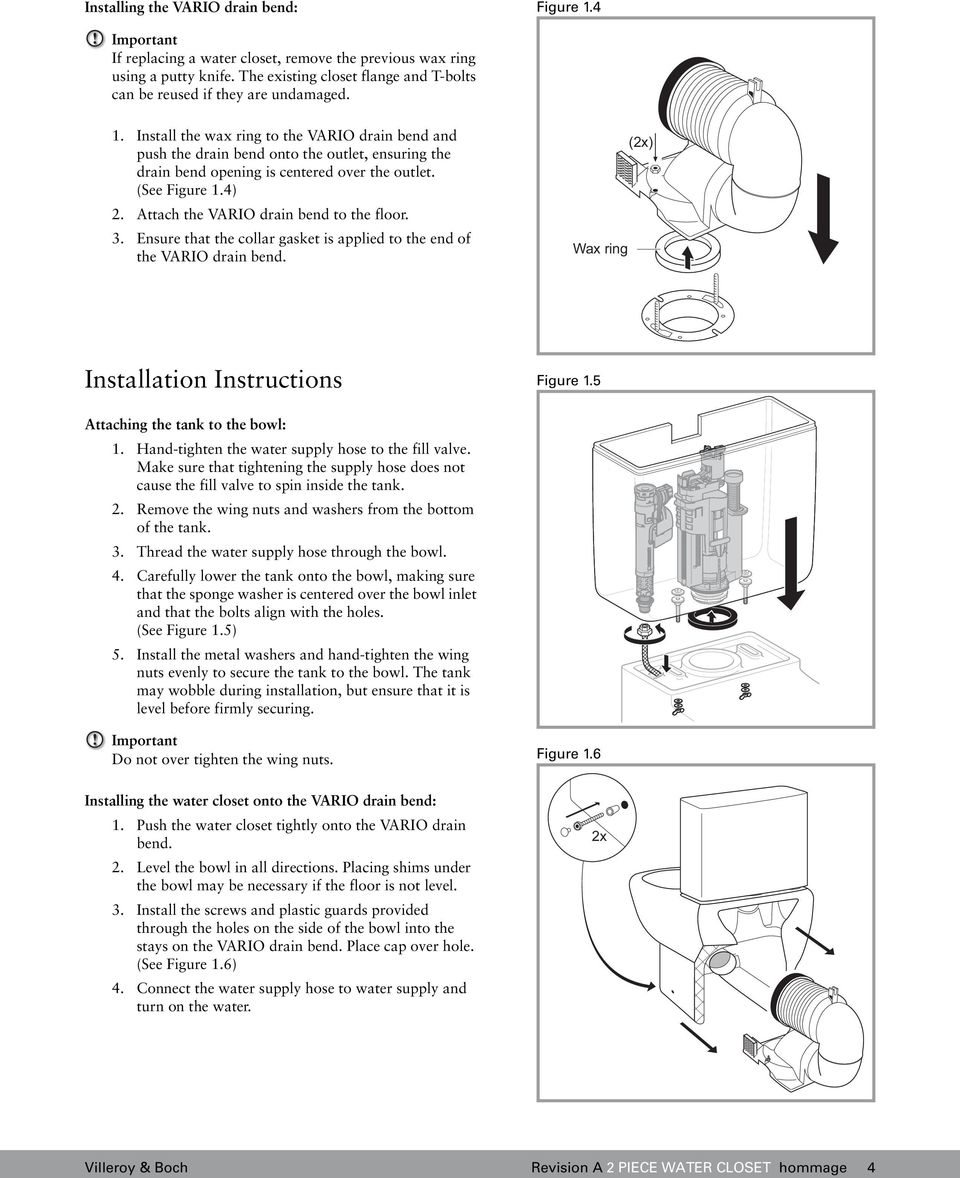 Install the wax ring to the VARIO drain bend and push the drain bend onto the outlet, ensuring the drain bend opening is centered over the outlet. (See Figure 1.4) 2.