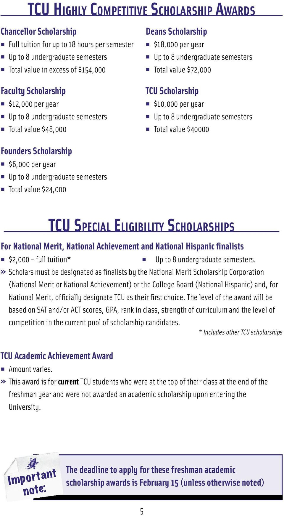 undergraduate semesters Total value $40000 Founders Scholarship $6,000 per year Up to 8 undergraduate semesters Total value $24,000 TCU Special Eligibility Scholarships For National Merit, National