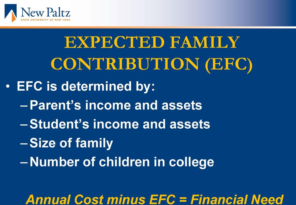 Student s income and assets Size of family
