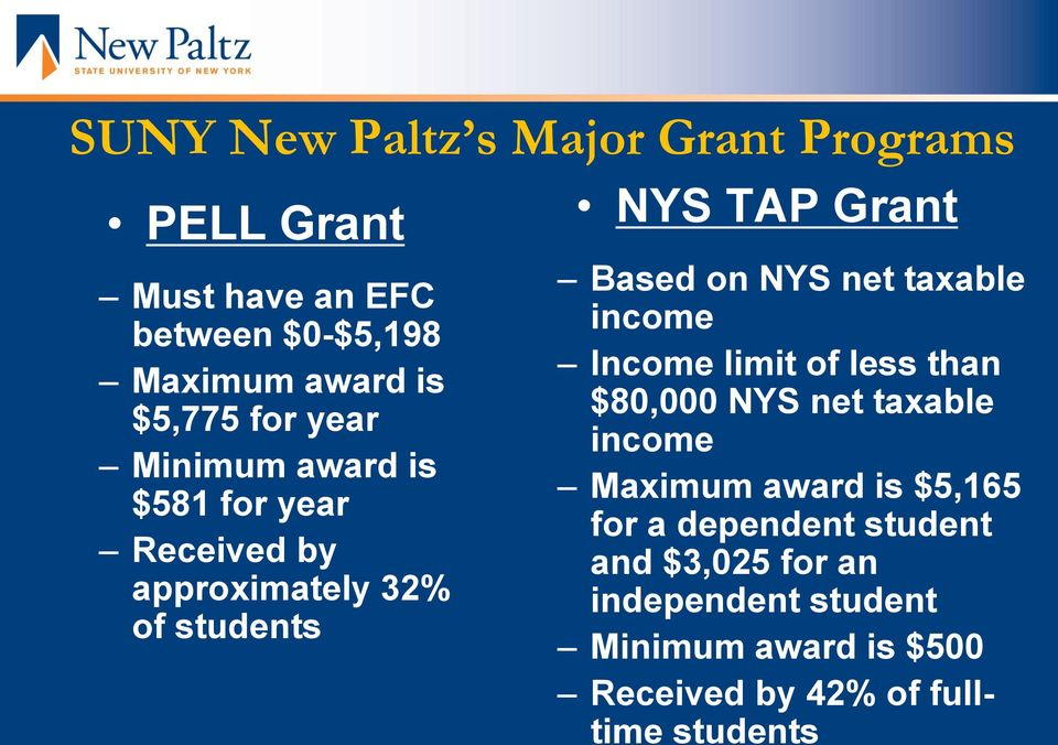 net taxable income Income limit of less than $80,000 NYS net taxable income Maximum award is $5,165 for a