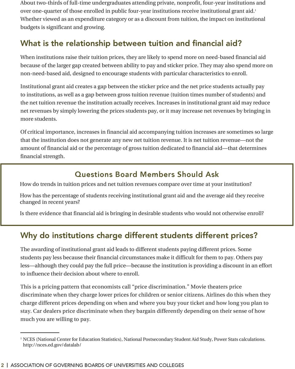 What is the relationship between tuition and financial aid?
