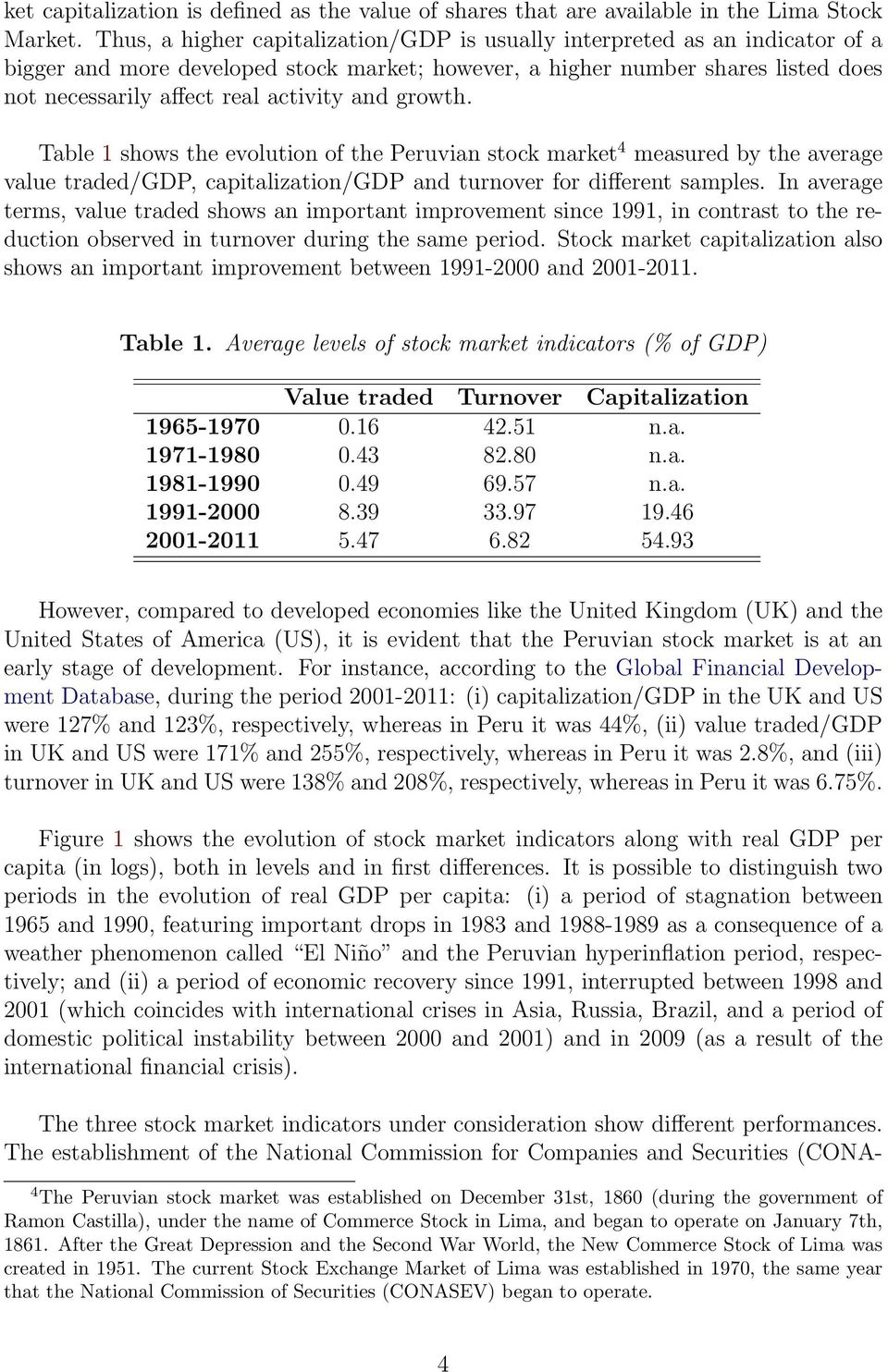 and growth. Table 1 shows the evolution of the Peruvian stock market 4 measured by the average value traded/gdp, capitalization/gdp and turnover for different samples.