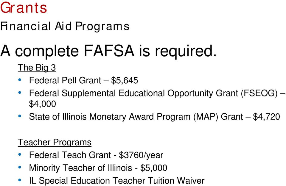 (FSEOG) $4,000 State of Illinois Monetary Award Program (MAP) Grant $4,720 Teacher