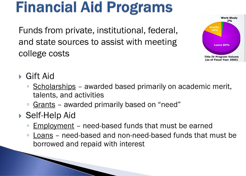 Grants awarded primarily based on need Self-Help Aid Employment need-based funds that must be