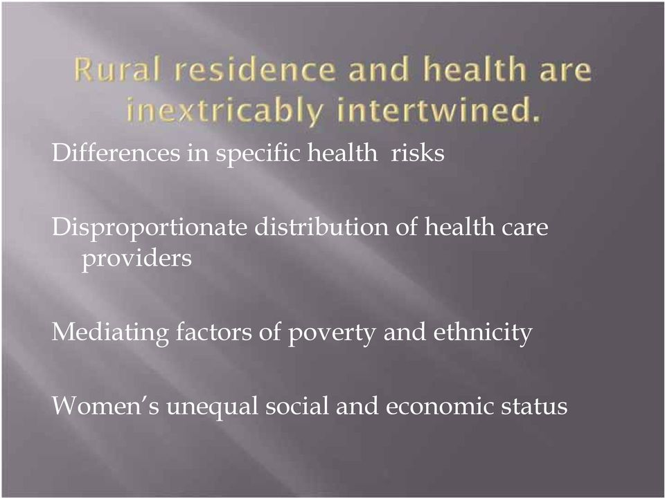 providers Mediating factors of poverty and