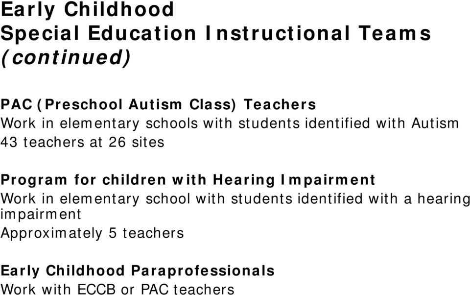 Program for children with Hearing Impairment Work in elementary school with students identified with