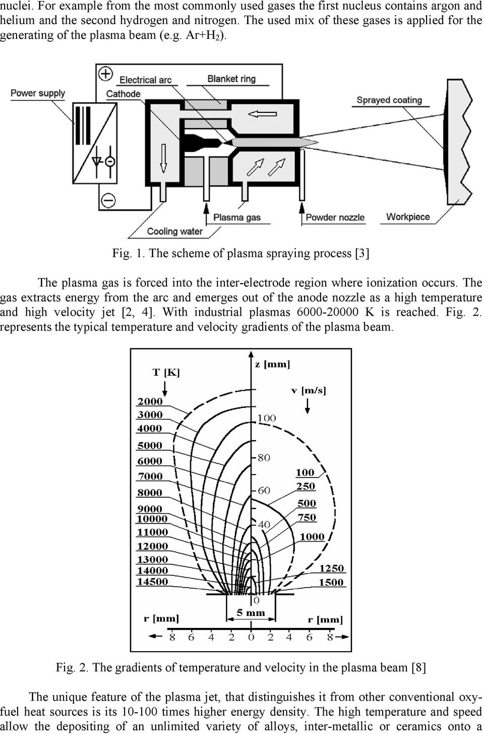 The scheme of plasma spraying process [3] The plasma gas is forced into the inter-electrode region where ionization occurs.
