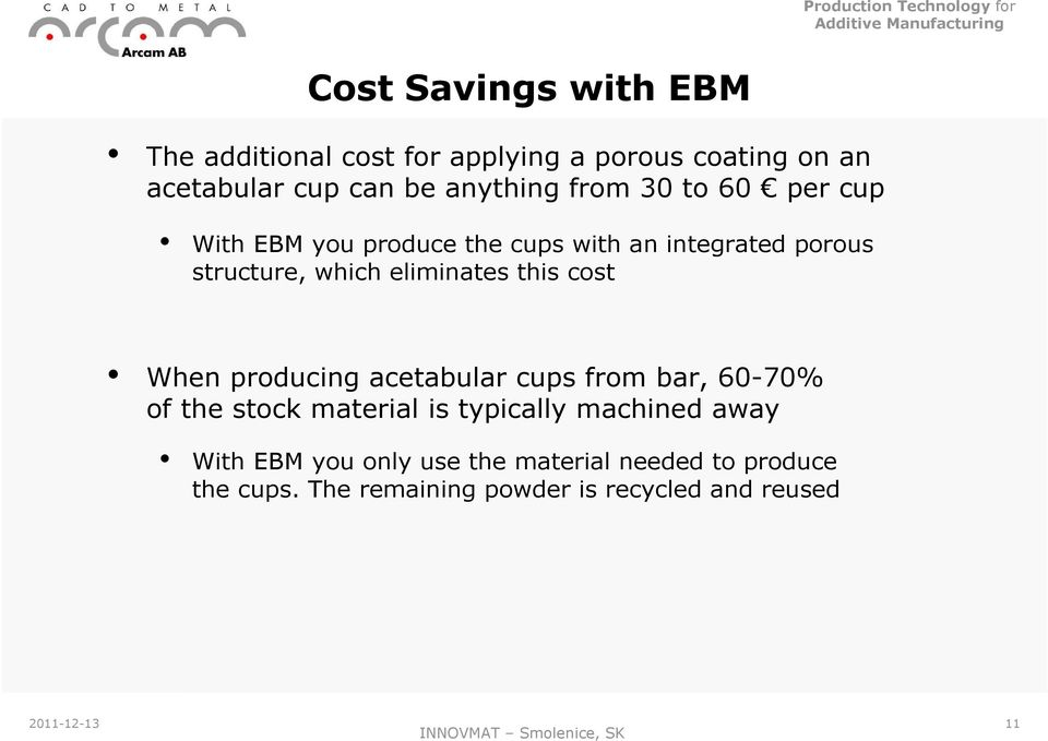 cost When producing acetabular cups from bar, 60-70% of the stock material is typically machined away With EBM