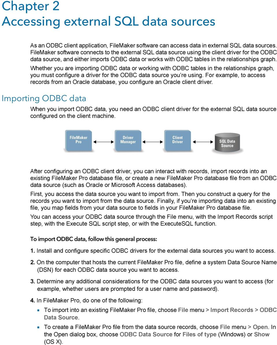 Whether you are importing ODBC data or working with ODBC tables in the relationships graph, you must configure a driver for the ODBC data source you re using.