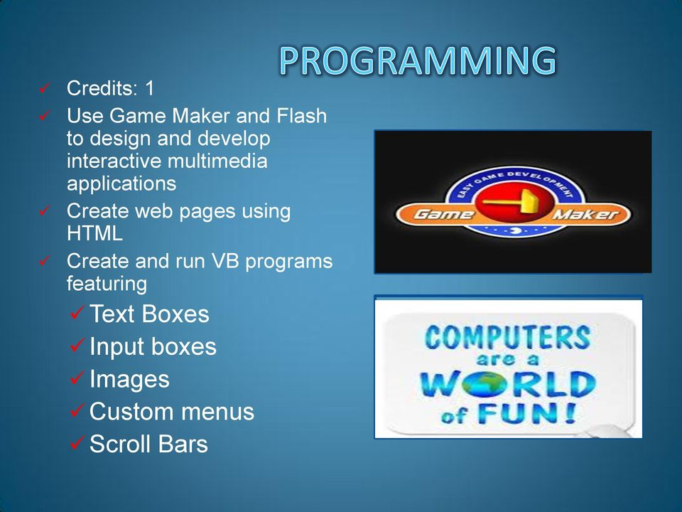 web pages using HTML Create and run VB programs