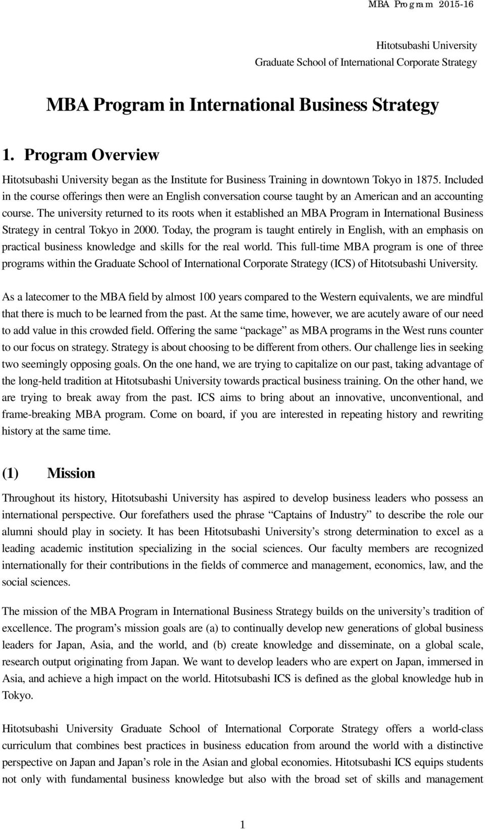 Application Package. MBA Program in International Business Strategy - PDF  Free Download