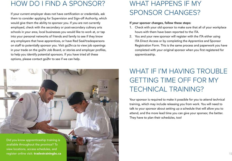 If you are not currently employed, check with the secondary or post-secondary culinary arts schools in your area, local businesses you would like to work at, or tap into your personal networks of