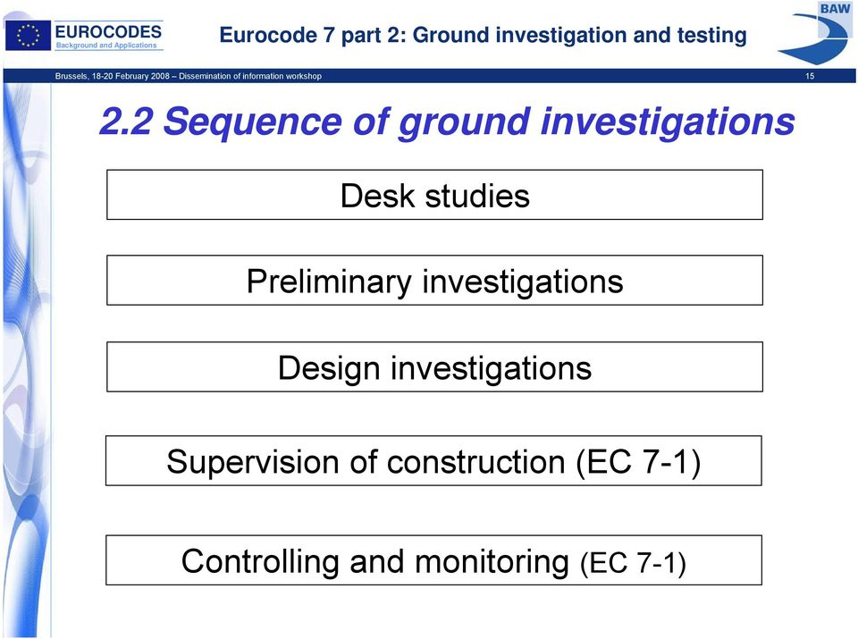 2 Sequence of ground investigations Desk studies Preliminary
