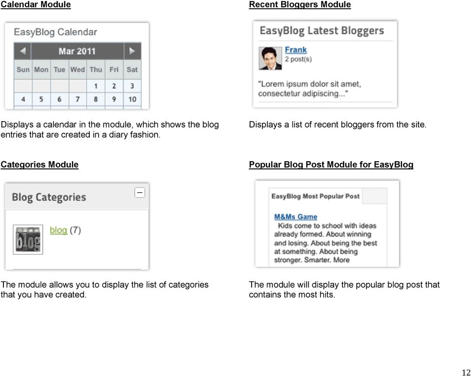 Categories Module Popular Blog Post Module for EasyBlog The module allows you to display the list of