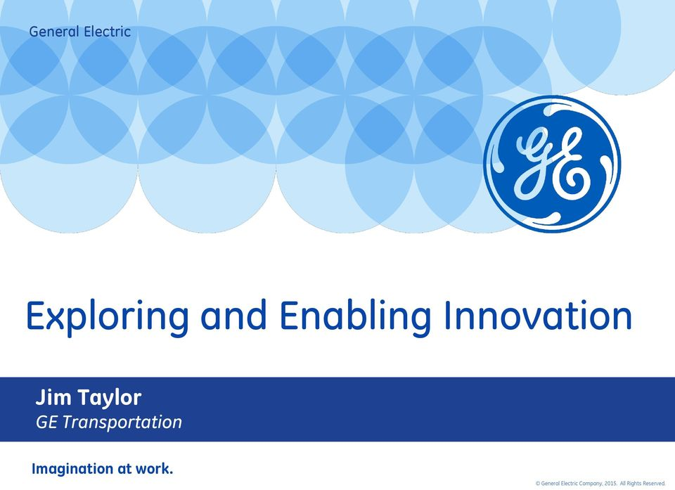 Services & Solutions Jim Taylor GE Transportation