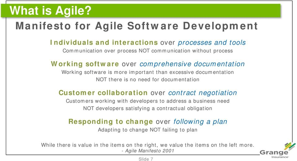 software over comprehensive documentation Working software is more important than excessive documentation NOT there is no need for documentation Customer collaboration