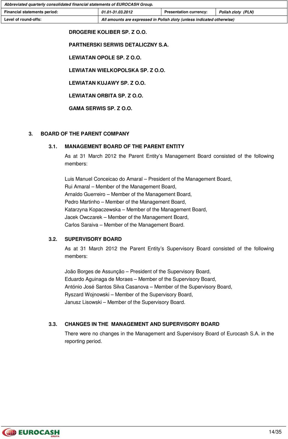 MANAGEMENT BOARD OF THE PARENT ENTITY As at 31 March 2012 the Parent Entity s Management Board consisted of the following members: Luis Manuel Conceicao do Amaral President of the Management Board,