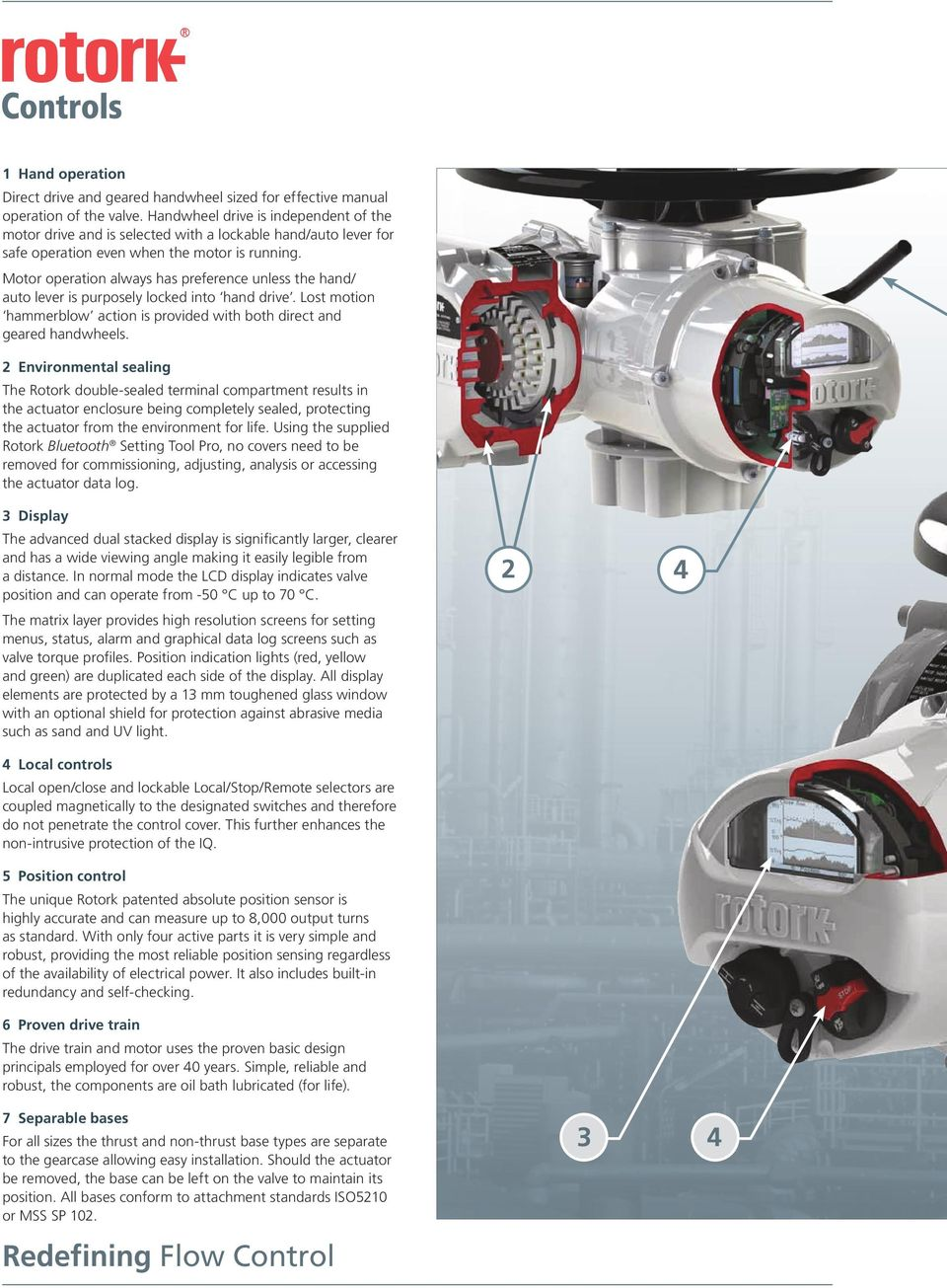 Motor operation always has preference unless the hand/ auto lever is purposely locked into hand drive. Lost motion hammerblow action is provided with both direct and geared handwheels.