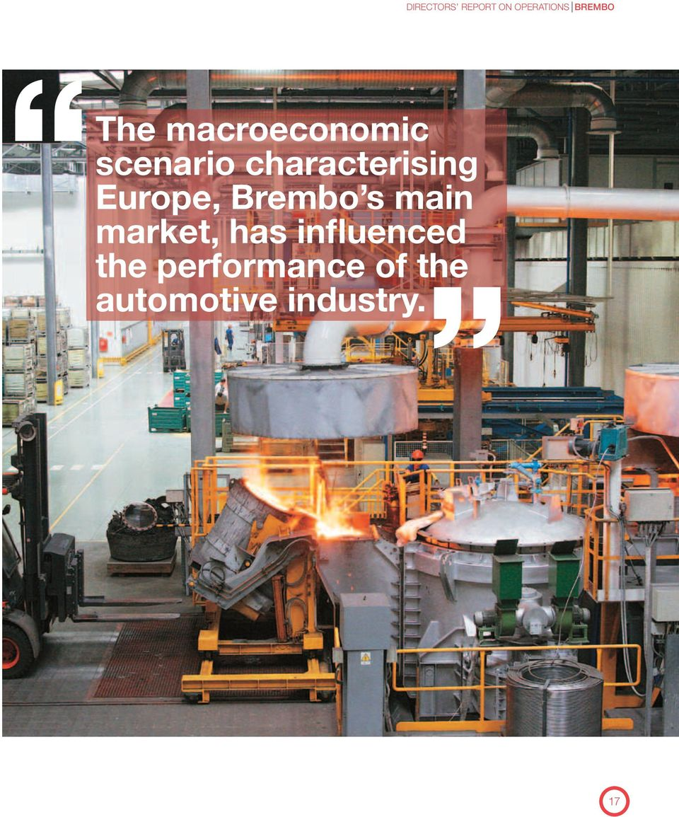 Europe, Brembo s main market, has