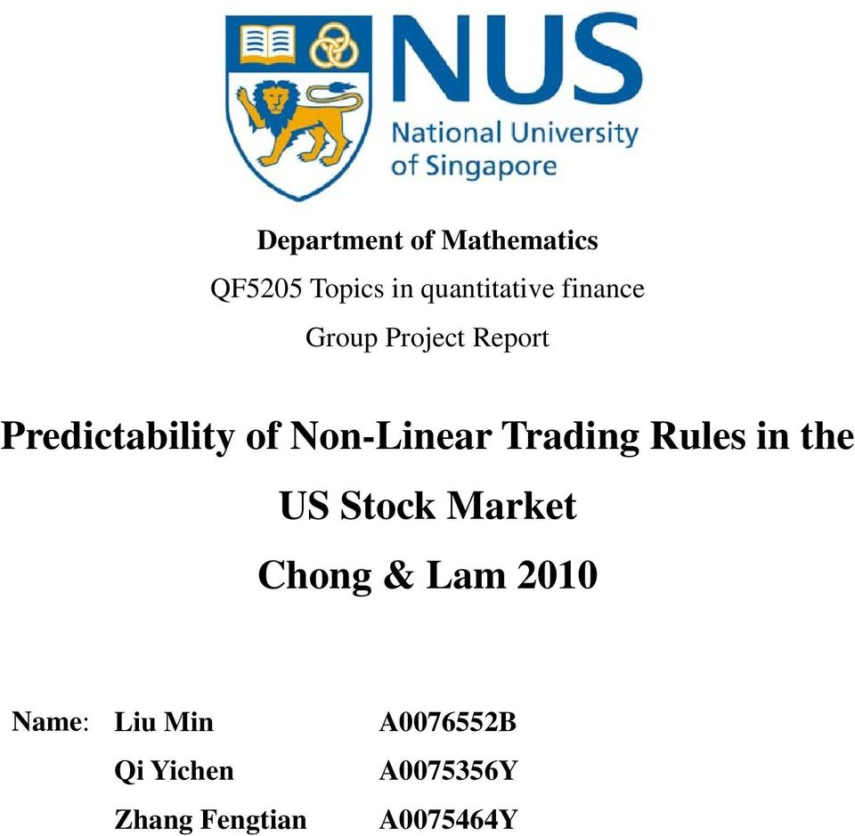 Trading Rules in the US Stock Market Chong & Lam 010 ame: