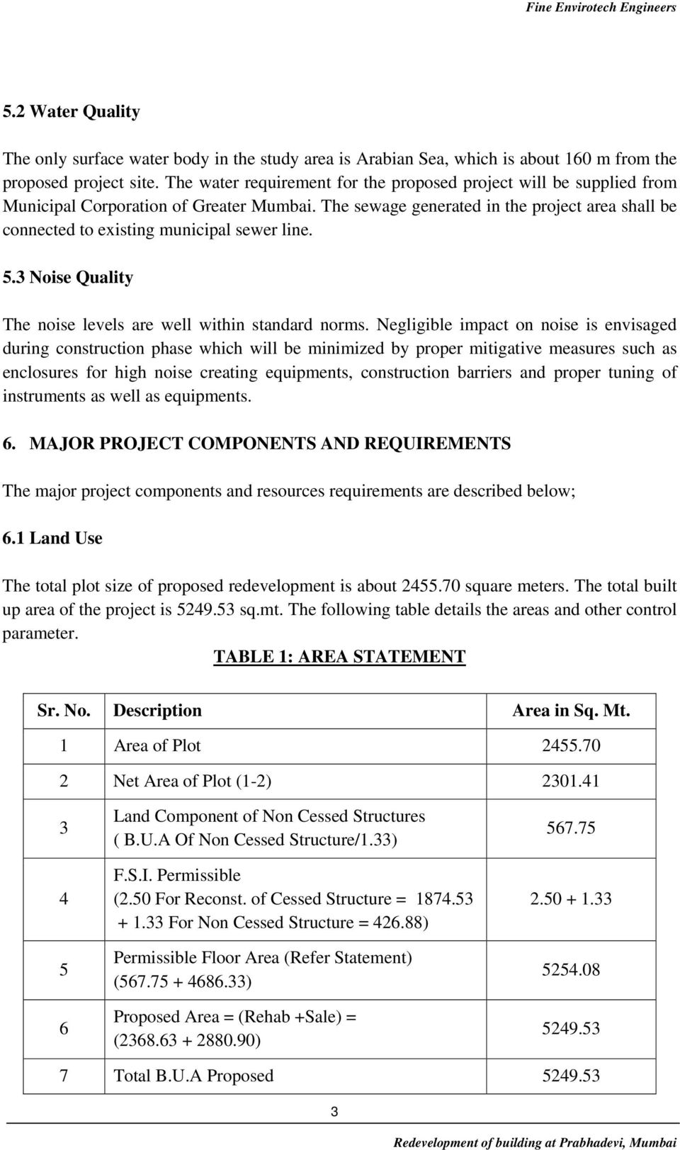 The sewage generated in the project area shall be connected to existing municipal sewer line. 5.3 Noise Quality The noise levels are well within standard norms.