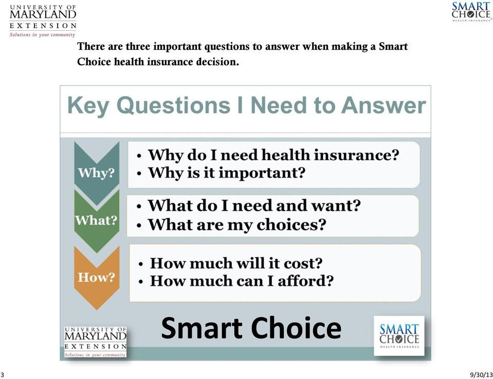making a Smart Choice health