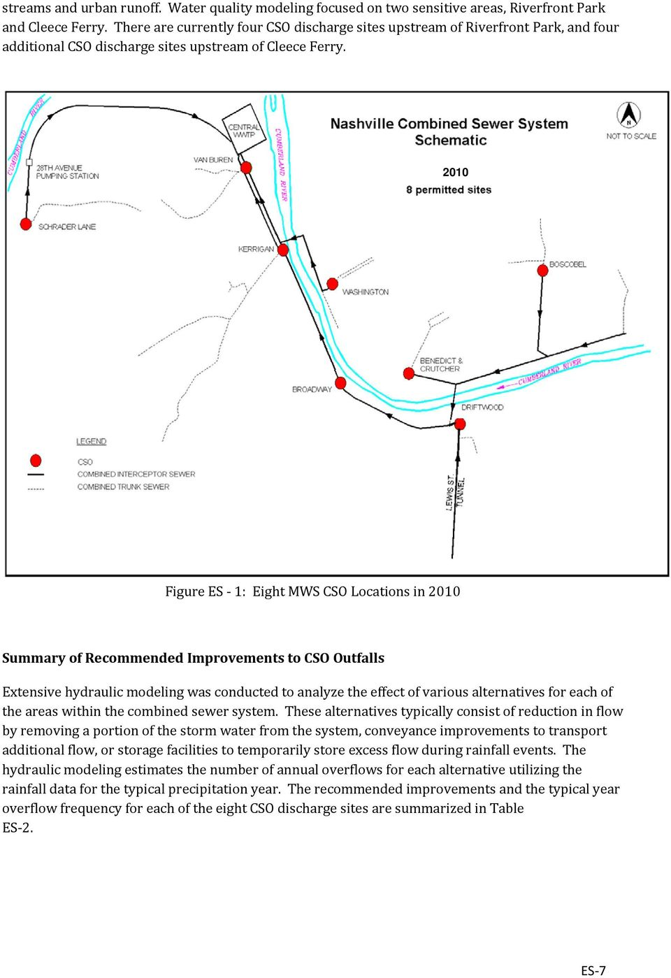 2010 Figure ES 1: Eight MWS CSO Locations in 2010 Summary of Recommended Improvements to CSO Outfalls Extensive hydraulic modeling was conducted to analyze the effect of various alternatives for each