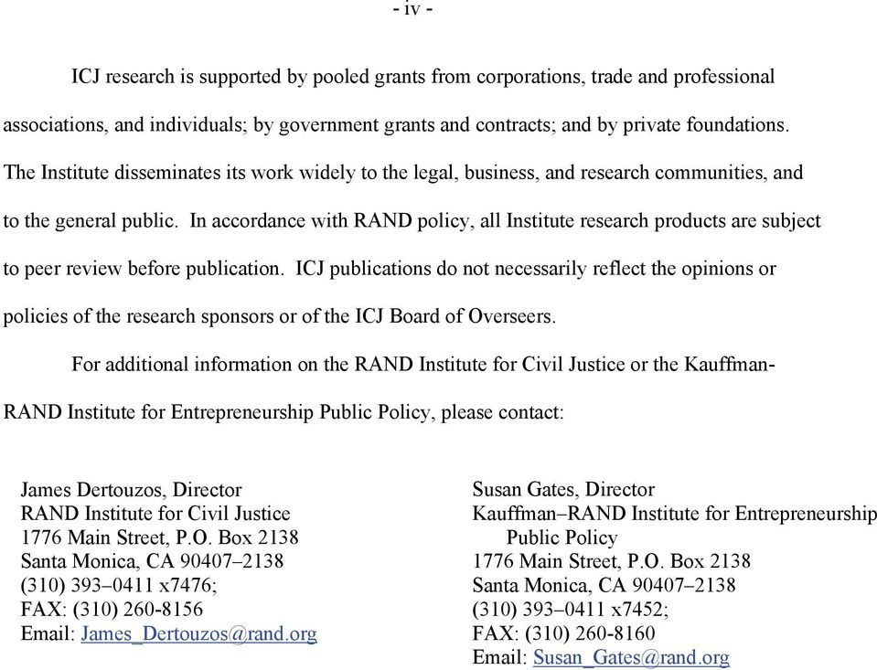 In accordance with RAND policy, all Institute research products are subject to peer review before publication.