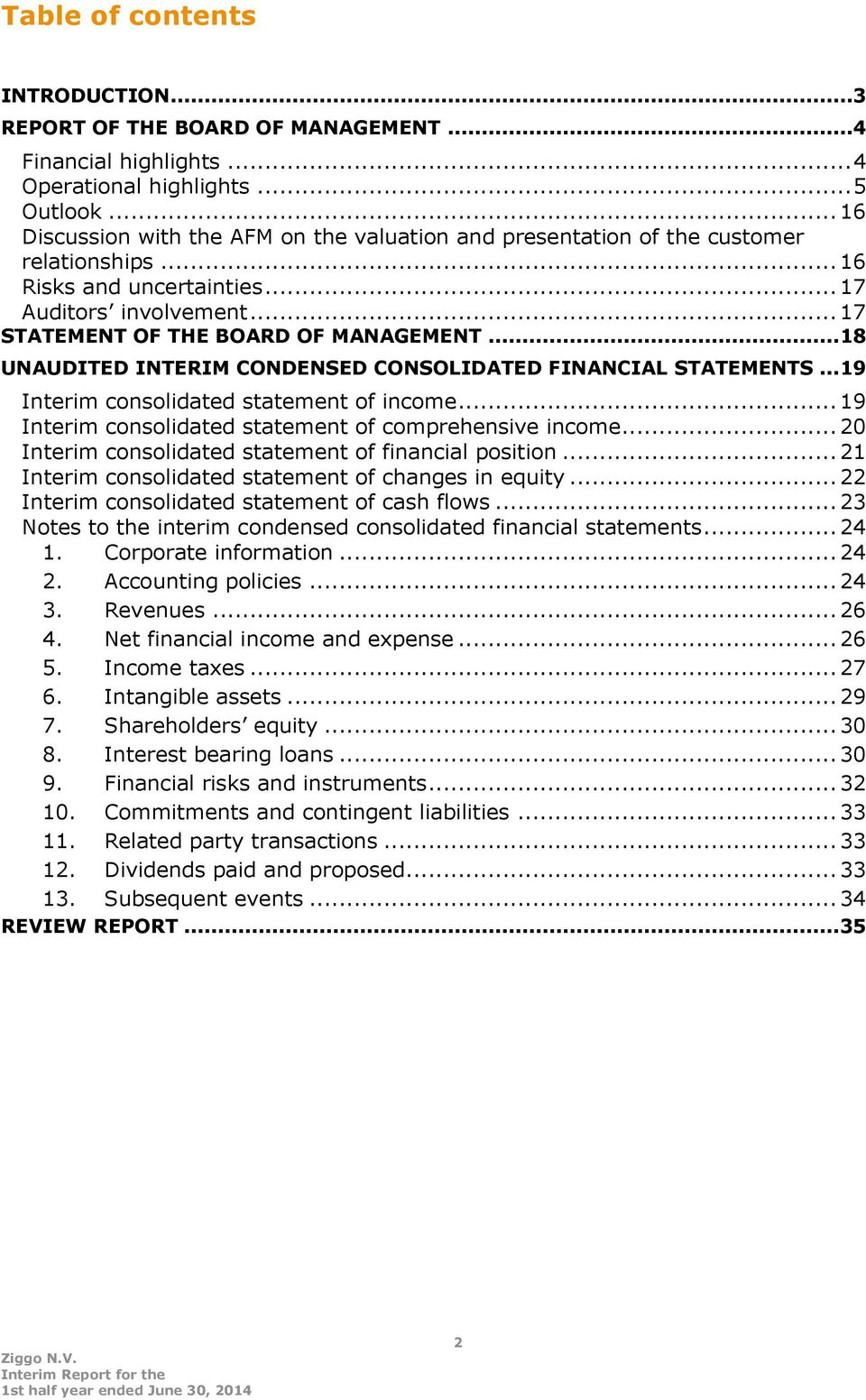 .. 18 UNAUDITED INTERIM CONDENSED CONSOLIDATED FINANCIAL STATEMENTS... 19 Interim consolidated statement of income... 19 Interim consolidated statement of comprehensive income.