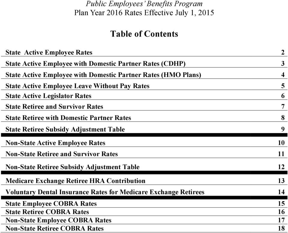 State Retiree Subsidy Adjustment Table 9 Non-State Active Employee Rates 10 Non-State Retiree and Survivor Rates 11 Non-State Retiree Subsidy Adjustment Table 12 Medicare Exchange Retiree HRA