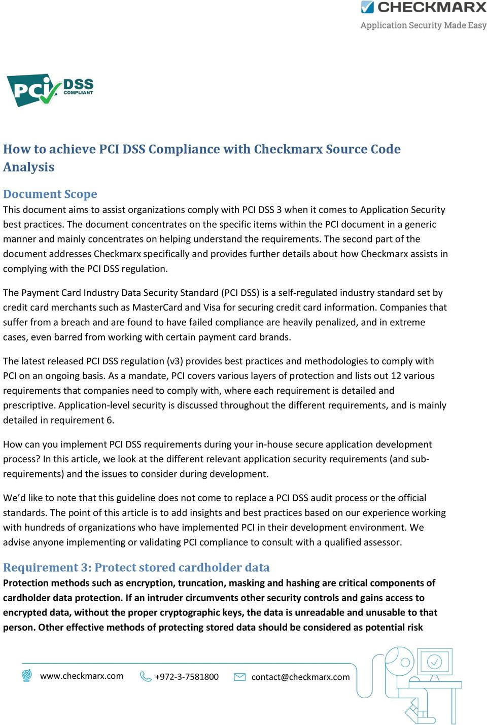 The second part of the document addresses Checkmarx specifically and provides further details about how Checkmarx assists in complying with the PCI DSS regulation.