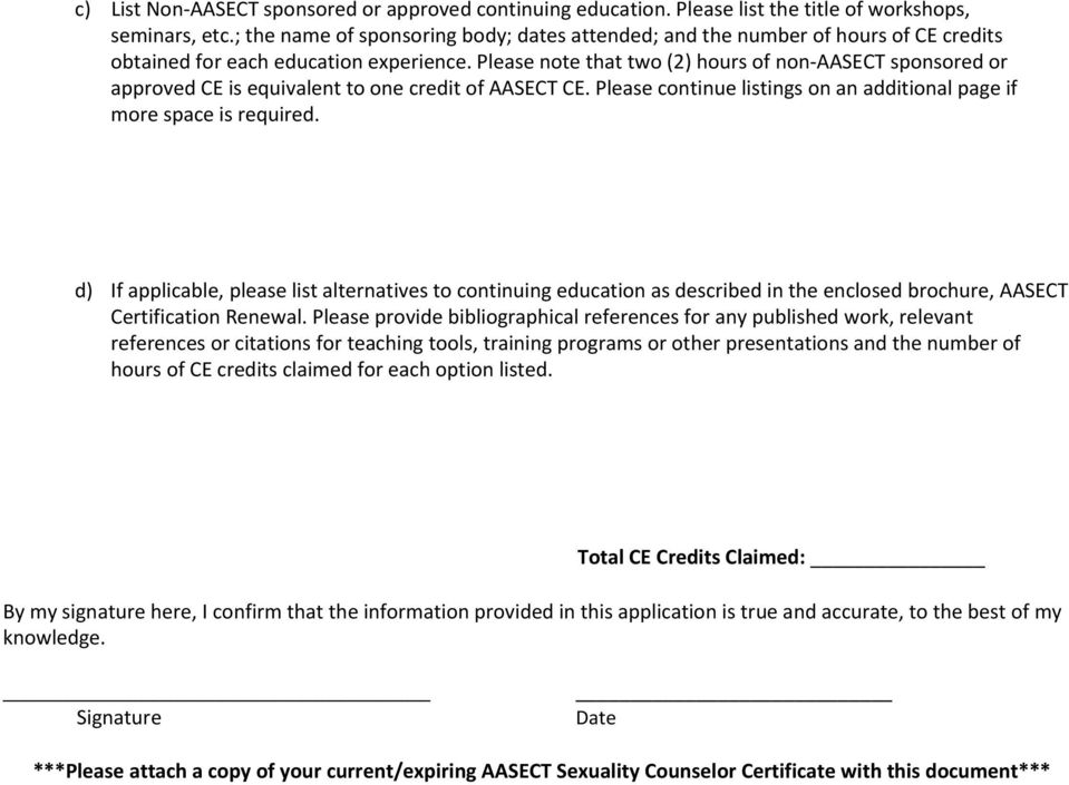 Aasect Sexuality Counselor Certification Renewal Application Pdf