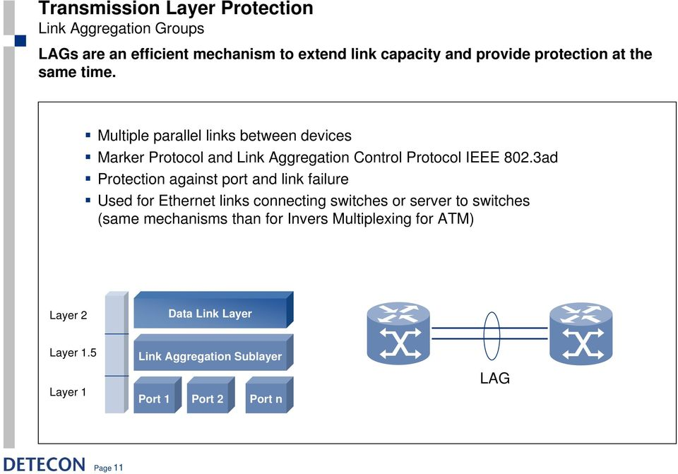 Multiple parallel links between devices Marker Protocol and Link Aggregation Control Protocol IEEE 802.