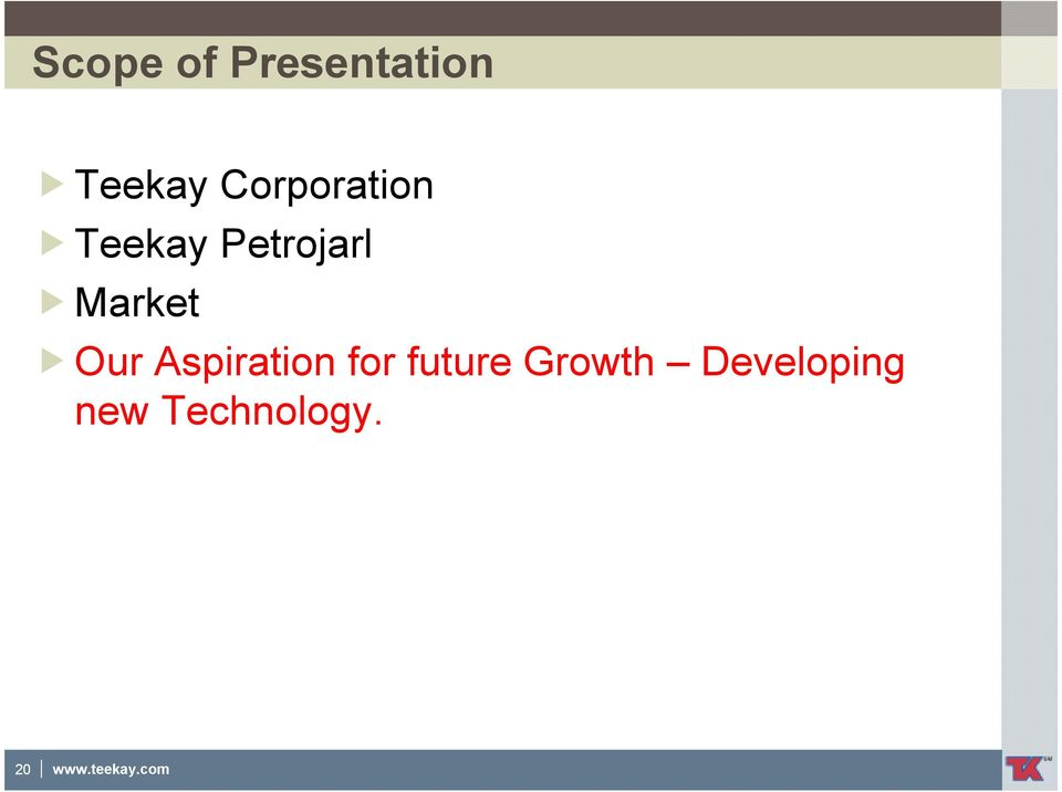 Our Aspiration for future Growth