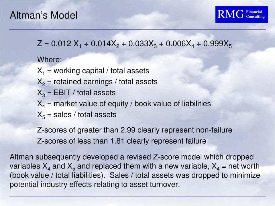liabilities X 5 = sales / total assets Z-scores of greater than 2.99 clearly represent non-failure Z-scores of less than 1.