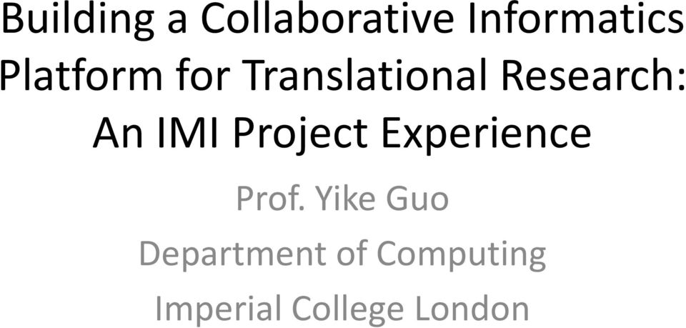 IMI Project Experience Prof.