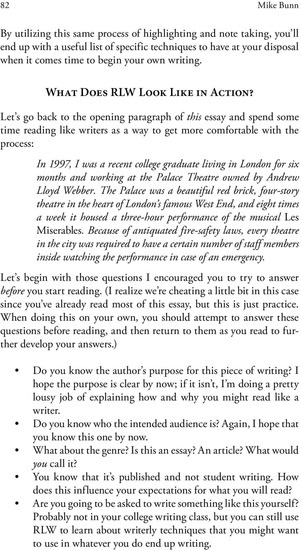 Let s go back to the opening paragraph of this essay and spend some time reading like writers as a way to get more comfortable with the process: In 1997, I was a recent college graduate living in