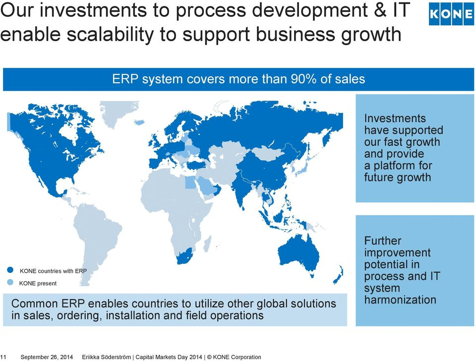 Common ERP enables countries to utilize other global solutions in sales, ordering, installation and field operations Further