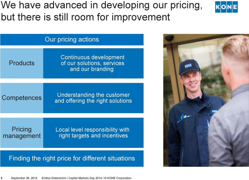 offering the right solutions Pricing management Local level responsibility with right targets and incentives