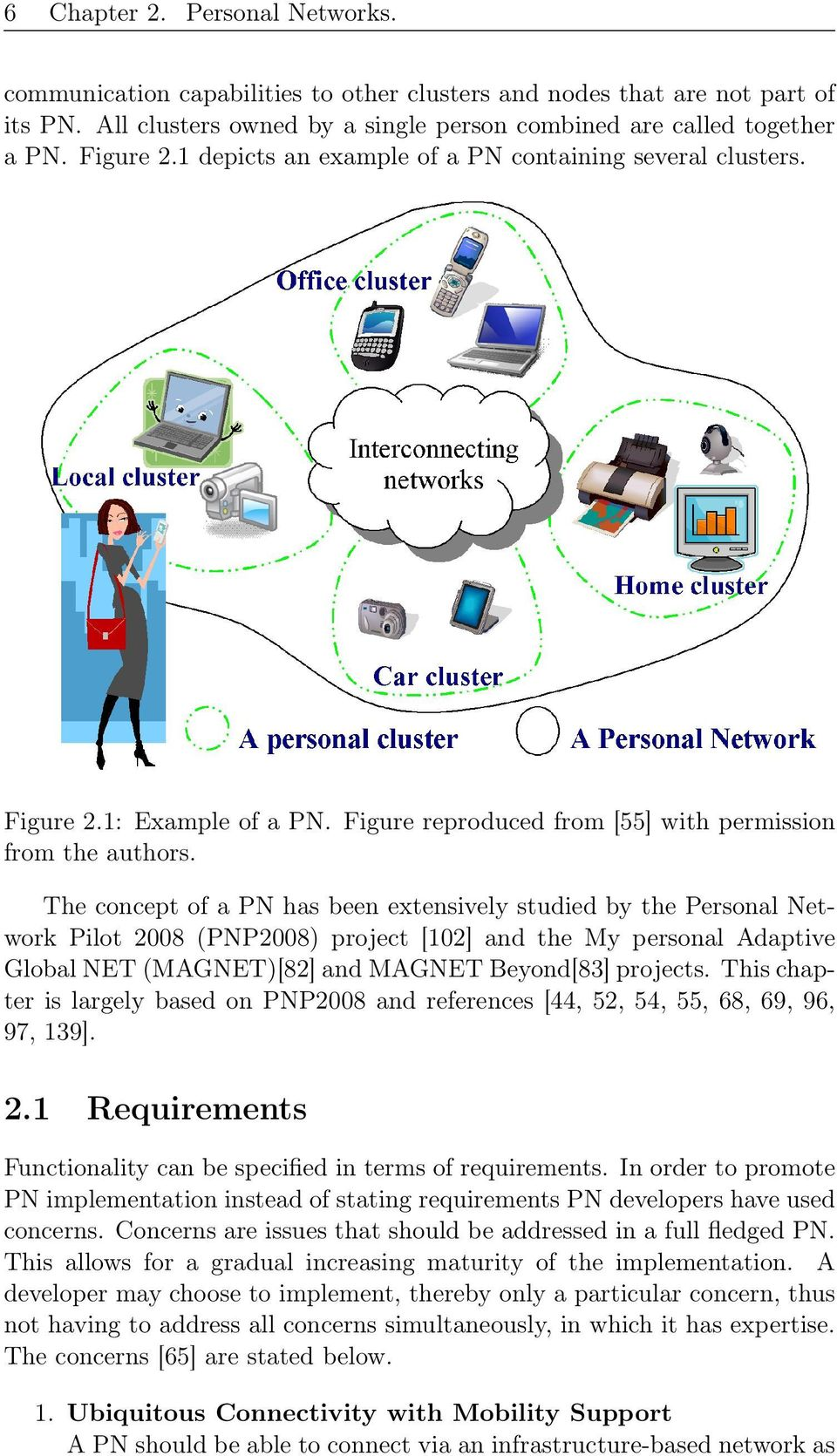 The concept of a PN has been extensively studied by the Personal Network Pilot 2008 (PNP2008) project [102] and the My personal Adaptive Global NET (MAGNET)[82] and MAGNET Beyond[83] projects.