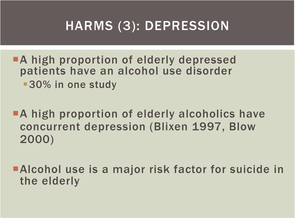 proportion of elderly alcoholics have concurrent depression (Blixen