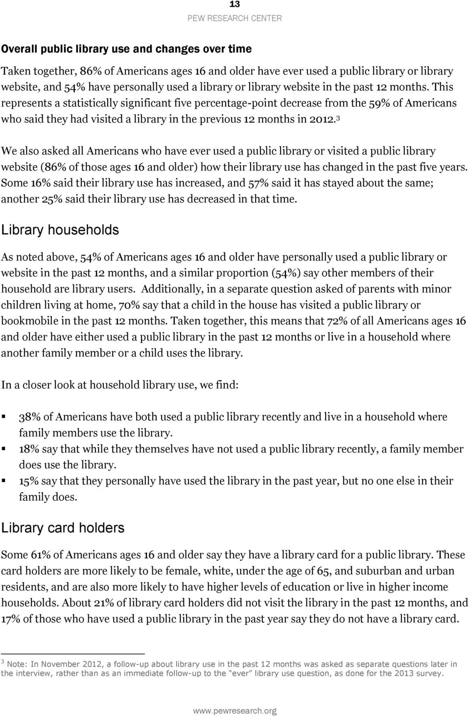 This represents a statistically significant five percentage-point decrease from the 59% of Americans who said they had visited a library in the previous 12 months in 2012.