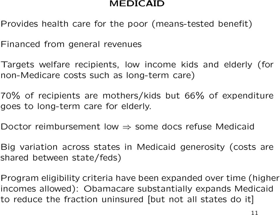 Doctor reimbursement low some docs refuse Medicaid Big variation across states in Medicaid generosity (costs are shared between state/feds) Program
